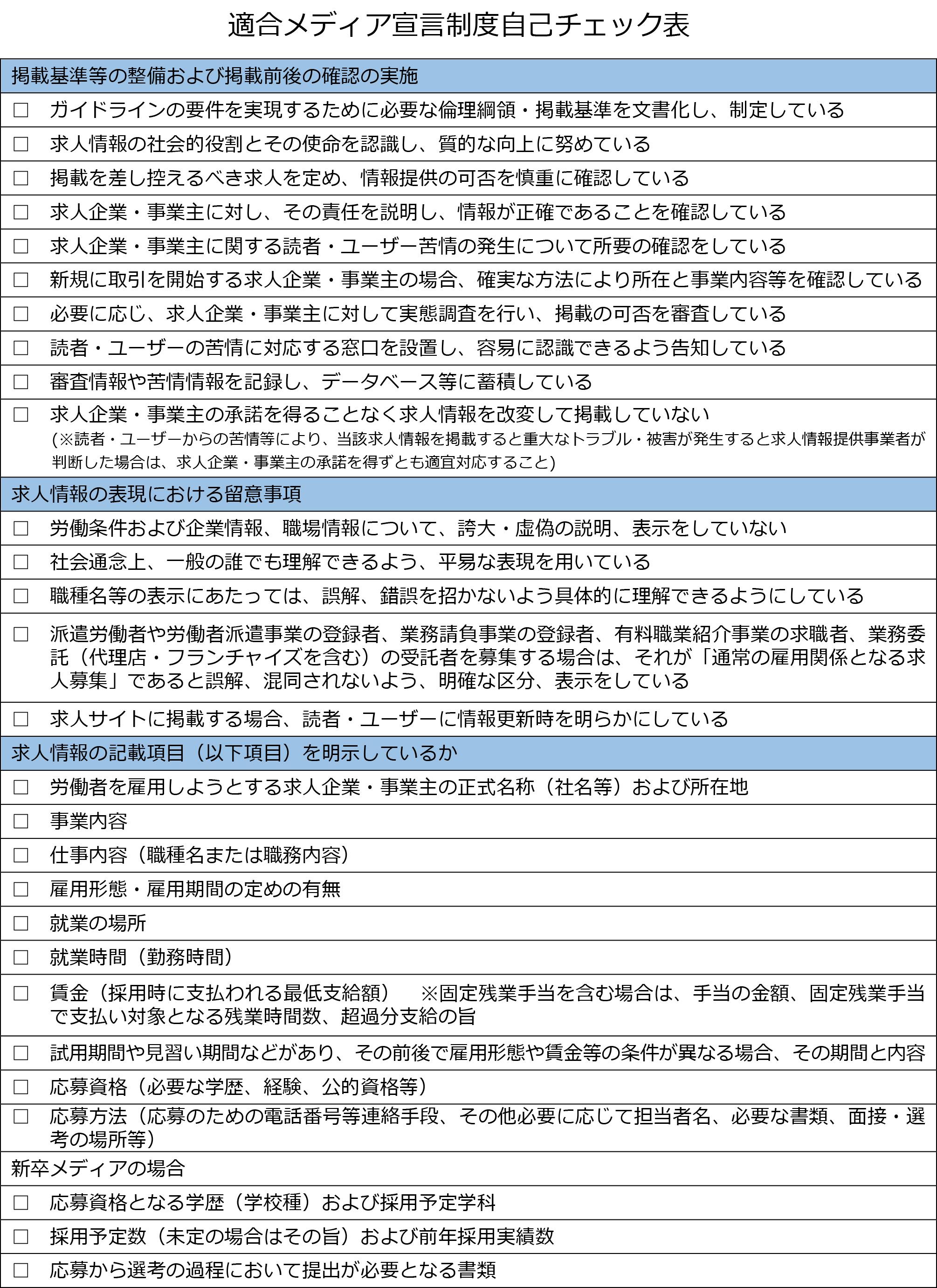 適合メディア宣言制度 自己チェック表[PDF]